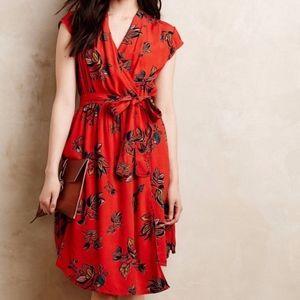 Anthropologie Maeve Noronha Floral Faux Wrap Dress